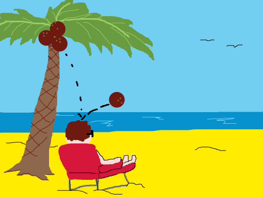 A man sitting on a beach while a coconut falls on his head.