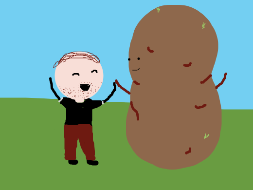 two friends, a man and giant potato.