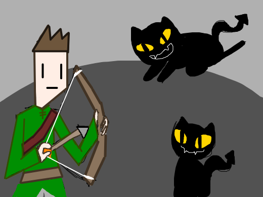 Monodoodley fends of demon cats with his bow.