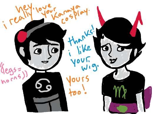 homestucks commenting on each other's hair. Both have legs on their heads.