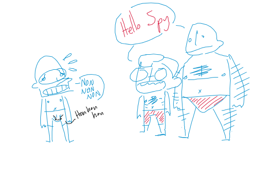 the mercs are having a pool party wearing pink bikini bottoms and Spy is uncomfortably aroused