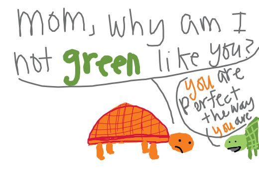 A orange turtle is upset he was born orange and not green.