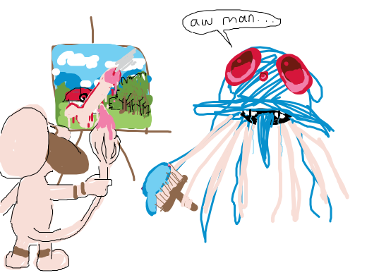 Tentacruel is mad at it's poke-painting being ruined by a gosh darn smeargle