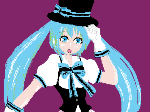 Miku with a hat and bow-tie.