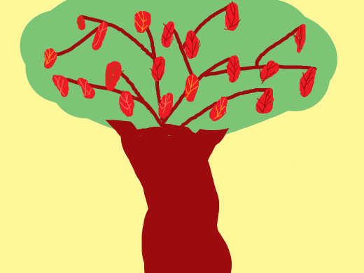 A tree with red leaves