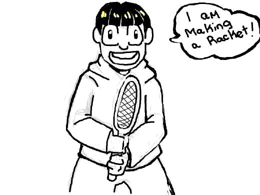 Jyushimatsu telling a joke with a racket between his legs
