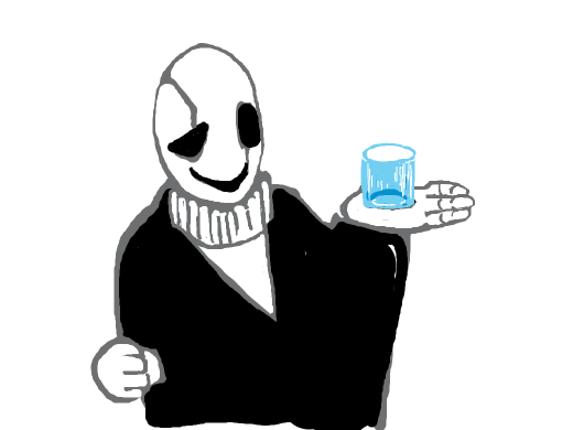 gaster's hole in his hand is a cupholder