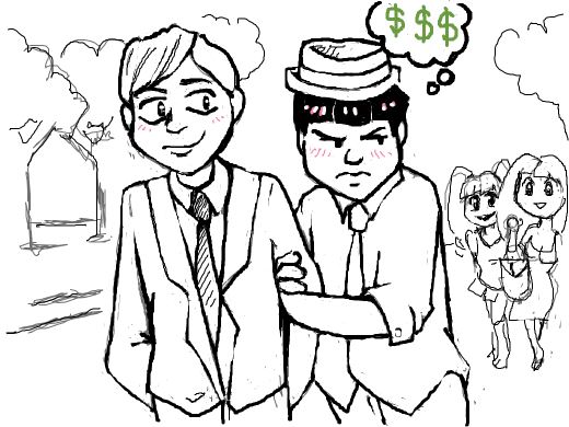 a jealous totty clings onto his sugar daddy, atsushi