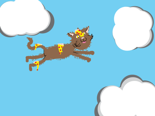 Magical flying pizza cat