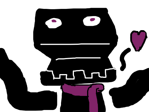 Enderman wearing purple scarf falls in love
