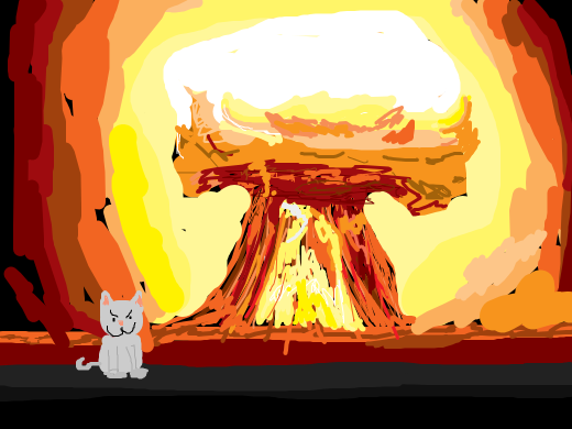 cat and an atomic explosion