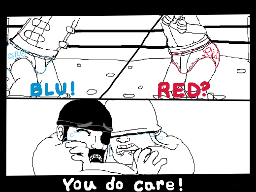 Soldier and Demo spongebob moment: &quote;Blue?&quote; &quote;Red?&quote; &quote;You do care!&quote;