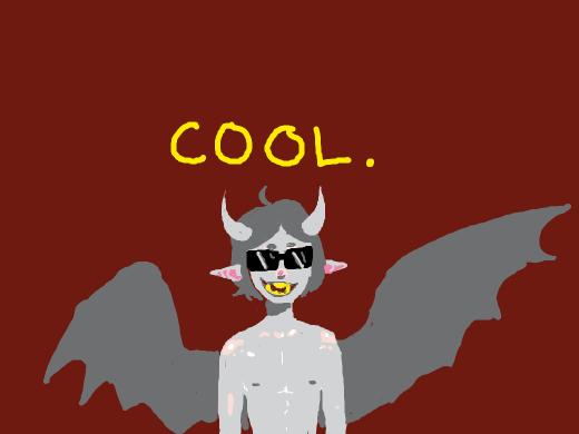 cute smol demon boye wears sunglasses and tries to he cool