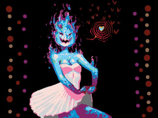 a blue fire girl in a beautiful dress