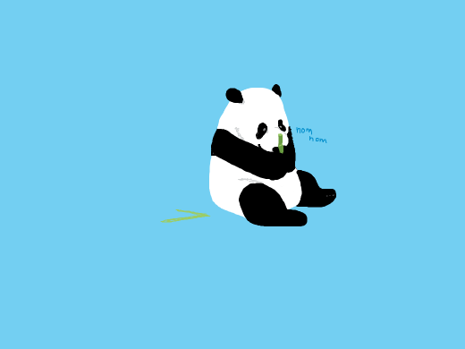 Panda-kid going &quote;nom&quote; on piece of bamboo.