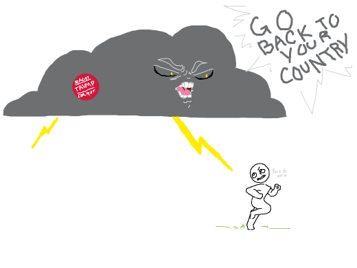 racist cloud attacks a man with a thunder