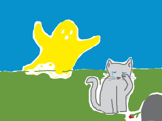 Mustard-covered ghost behind mourning cat