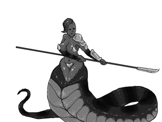 Battle ready lamia with a naginata
