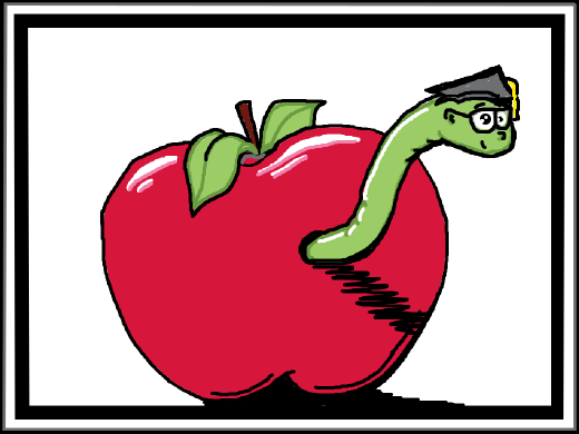 An apple with a worm in it.