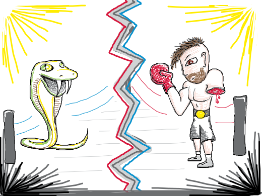 Fight of the Century: SNAKE vs. One armed BOXER!