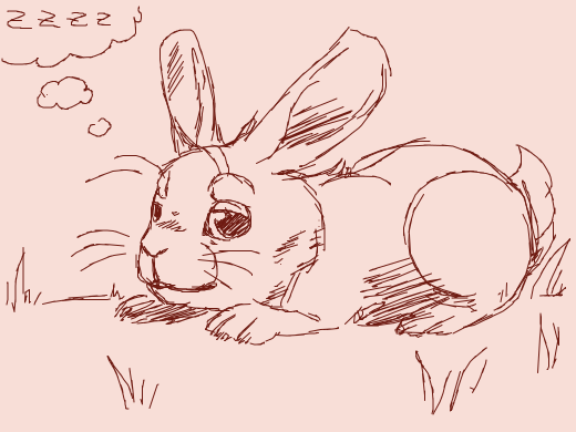 Aww! This is so well drawn and cute!!!! Fluff the bunny is tired.