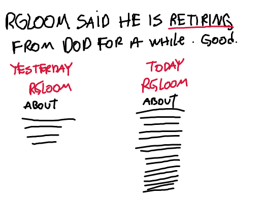 RGloom said he is retiring from Doodle Or Die for a while. Good.
