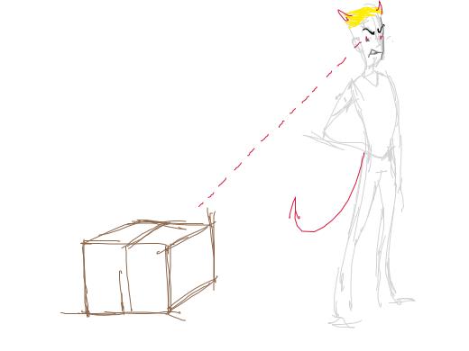 Blonde evil man looking at a box