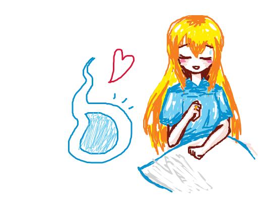 Blond blind girl meets her blue ghost boyfriend