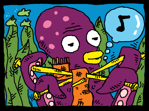Octopus knitting a scarf.