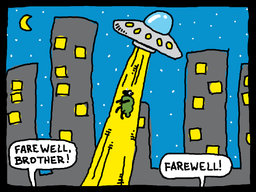 A green sheep being abducted from a city. Farewell, brother. Farewell.