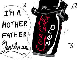 coke zero with a top hat