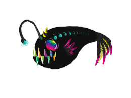 Neon Angler fish in the void
