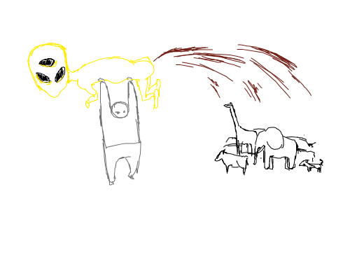 A grey biped holding up a three eyed yellow alien while it defecates on a variety of animals.