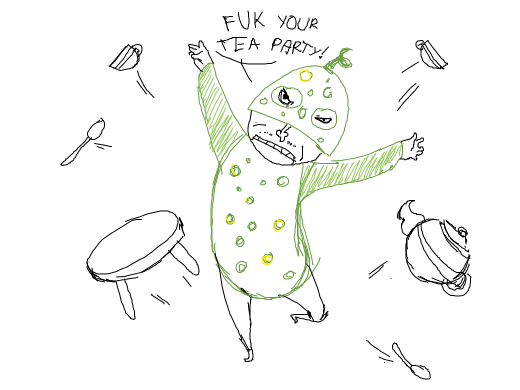 A green cucumber man who doesn't want a tea party