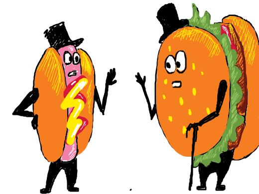 A hotdog and hamburger conversing.