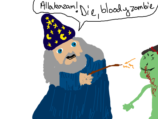 wizard man is trying to destroy a bloody zombie
