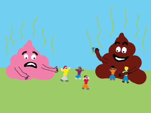 people fleeing a pink poop, liking the comfort of the brown one better.