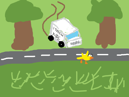 a pedovan chasing a duck across the street