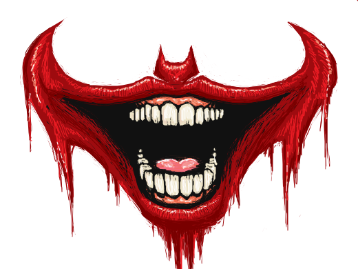 Very red lips smile in a way that the batman logo appears Joker Smile Png