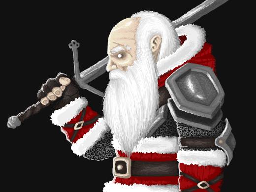 Armored santa claus holding a sword