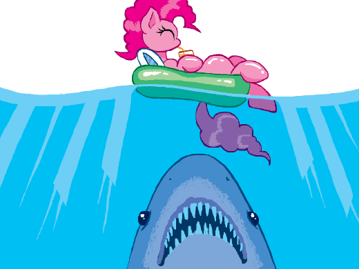 A shark swims upwards towards Pinkie Pie floating in an inner tube.