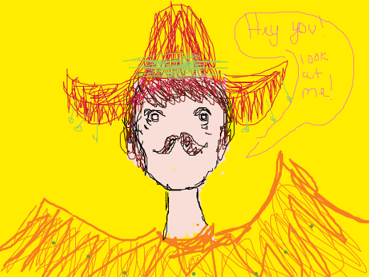 A mysterious Spanish man wearing a poncho and a sombrero wants your attention.
