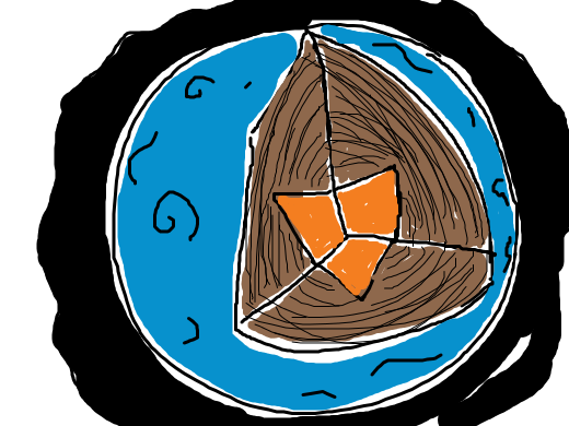 The blue planet has a black atmosphere with a triangle core