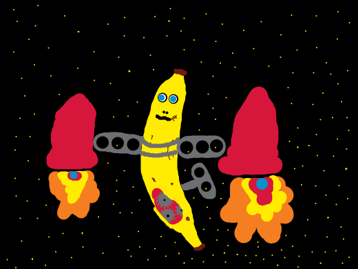 A giant mechanical banana flying in space with two small rockets flying towards the top.