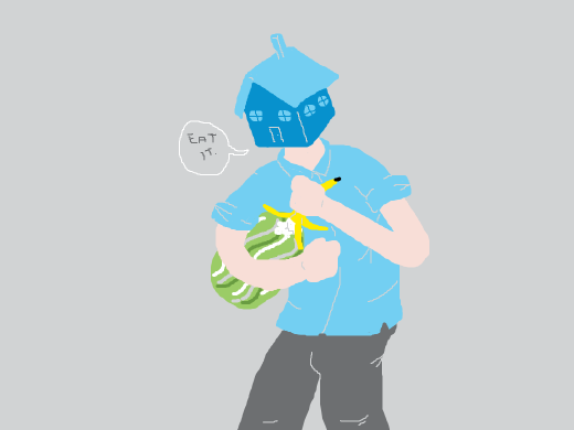 a blue house head feeding a watermelon