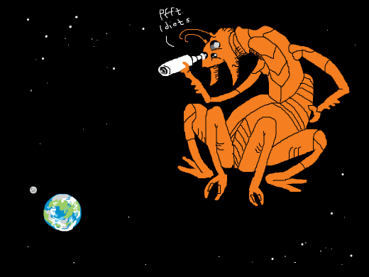 An giant orange alien with four legs and antennae looks down upon earth via a telescope, mocking their ways of life.