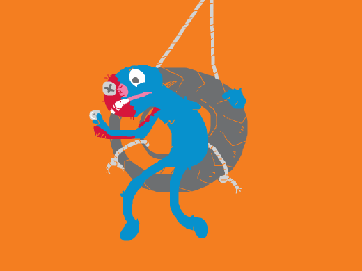 Grover on a tire swing contemplating morality