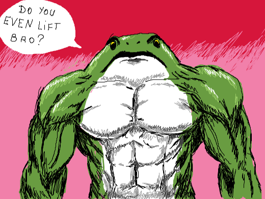 a buff frog stares you down.