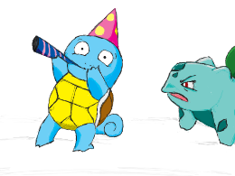 Green is not amused with Blue's antics.