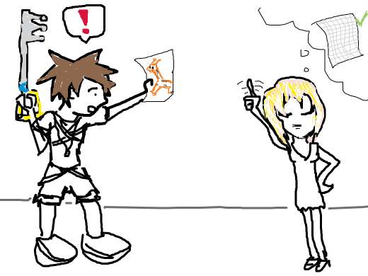 Sora happily runs to get Namine some giraffe paper, only to be told she needed graph paper not giraffe paper.